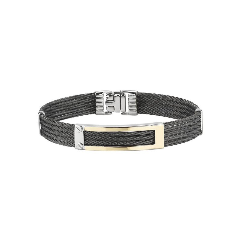 ALOR Black 5 Row Cable Bracelet with Rectangular 18kt Yellow Gold Station