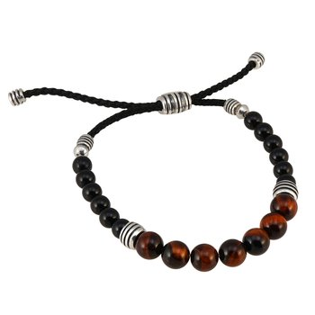 Men's Tiger Eye & Onyx Bead Bolo Bracelet
