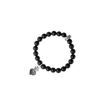 Black Onyx Bead Bracelet With Baby Black Cz Pave Crowned Heart