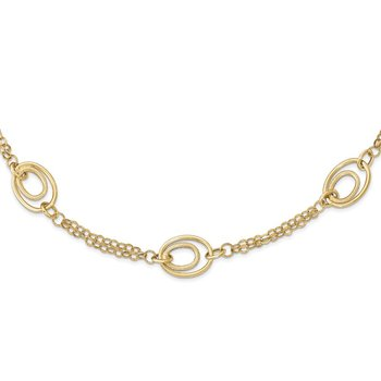 14k Gold Polished Textured Fancy Necklace
