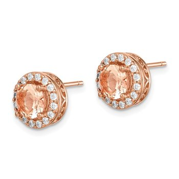 Sterling Silver Rose-tone Round Peach CZ Halo Post Earrings