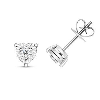 Diamond Illusion Studs Heart