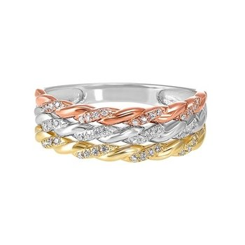 Diamond Triple Rope Tri-Color Gold Stacked Band (1/7ctw)