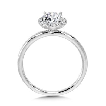 Classic Straight Oval Halo Engagement Ring