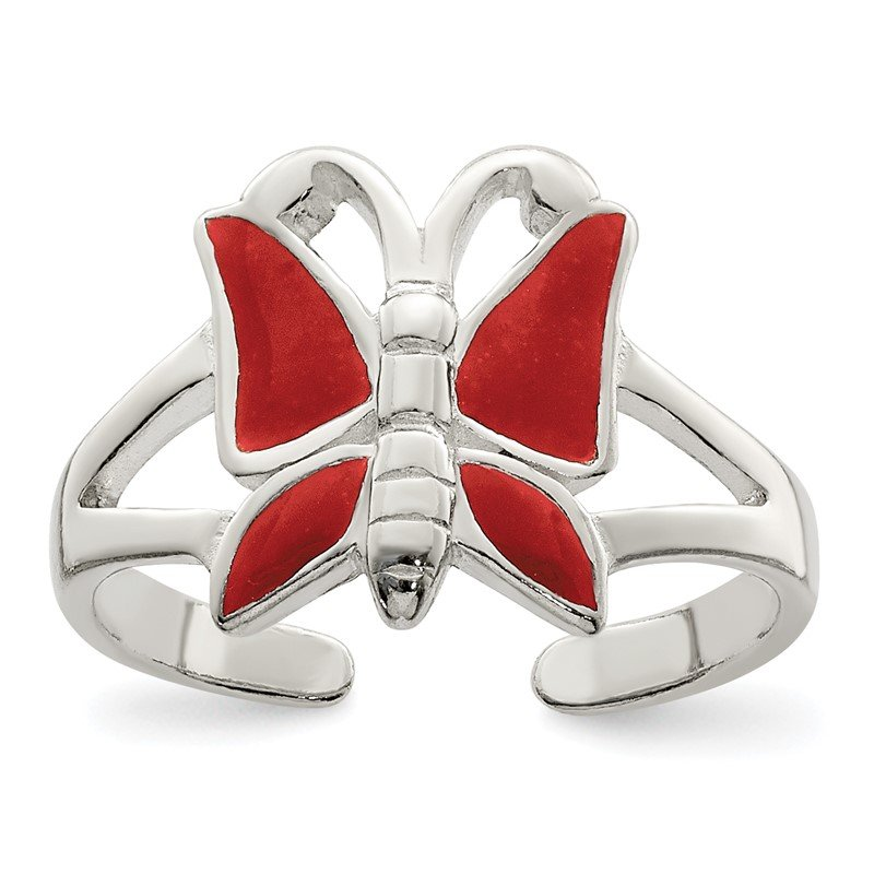 Quality Gold Sterling Silver Antiqued Red Enameled Butterfly Toe Ring