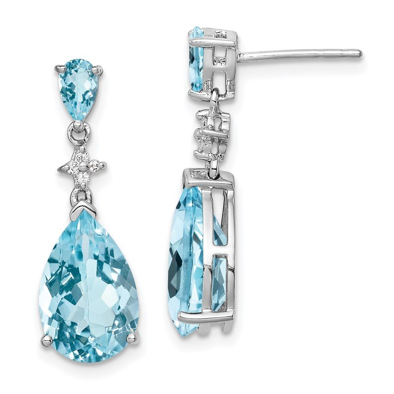 Quality Gold Sterling Silver Rhodium Plated Lt Swiss Blue & White Topaz Earrings