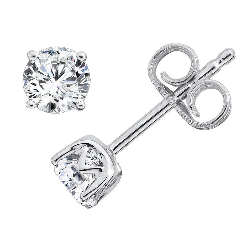 Caro74 Diamond Solitaire Studs in 14K White Gold with Platinum Post (5/8ct. tw.)