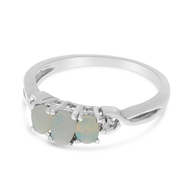Color Merchants 10k White Gold Oval Opal And Diamond Three Stone Ring