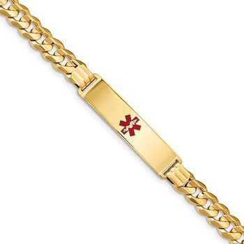 14K Medical Red Enamel Curb ID Bracelet