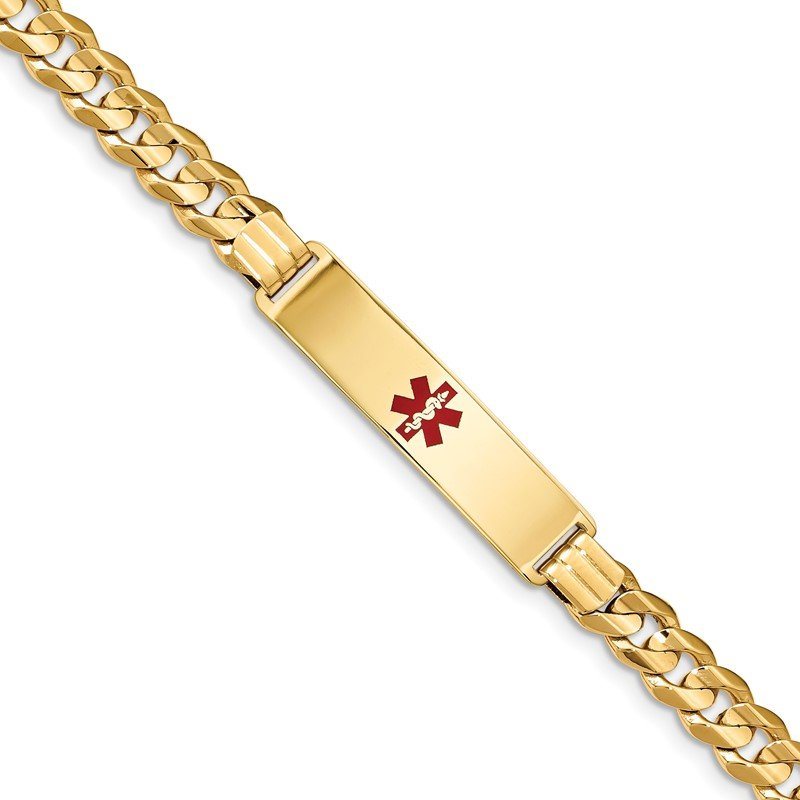 Quality Gold 14K Medical Red Enamel Curb ID Bracelet