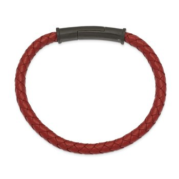 Stainless Steel Brushed Black IP-plated Red Leather 8.5in Bracelet