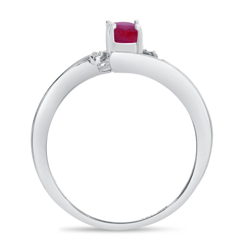 Color Merchants 14k White Gold Oval Ruby And Diamond Wave Ring