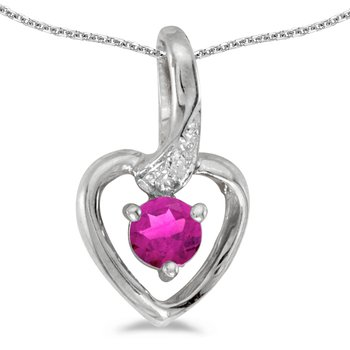 14k White Gold Round Pink Topaz And Diamond Heart Pendant