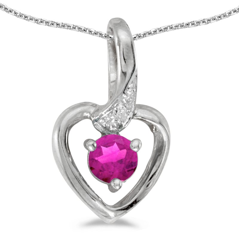 Color Merchants 14k White Gold Round Pink Topaz And Diamond Heart Pendant