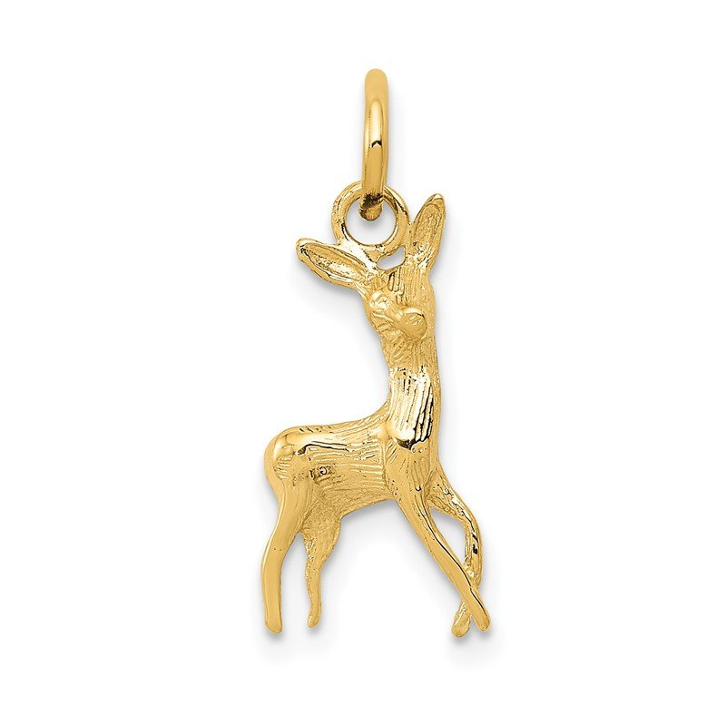 Quality Gold 14k Polished Open-Backed Deer Charm