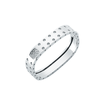 2 Row Square Bangle With Diamonds &Ndash; 18K White Gold, S