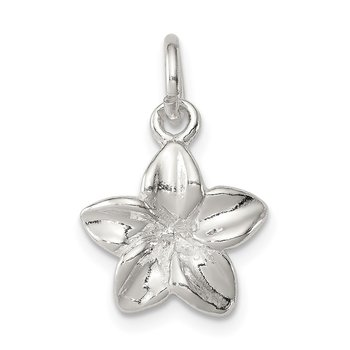 Sterling Silver Polished Plumeria Flower Pendant