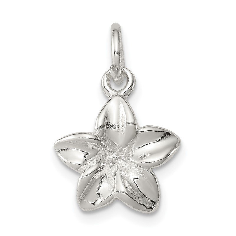 Quality Gold Sterling Silver Polished Plumeria Flower Pendant