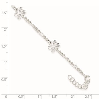 Sterling Silver Polished Flower 9in Plus 1in Ext. Anklet