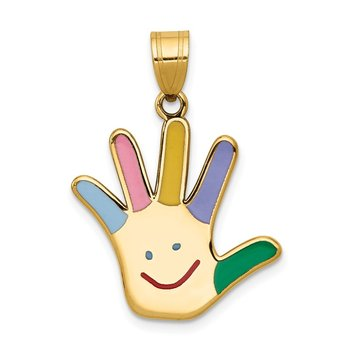 14k Enameled Autism w/Happy Face Handprint Pendant
