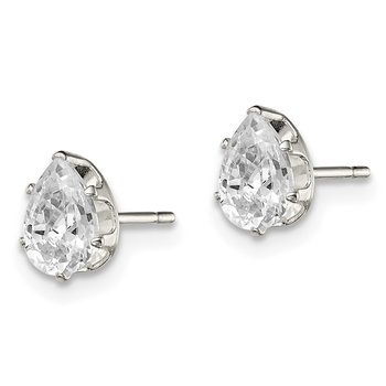 Sterling Silver 6x4 Pear Snap Set CZ Stud Earrings