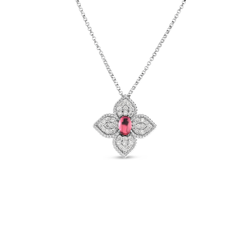 18K DIAMOND & RUBELLITE FLOWER PENDANT