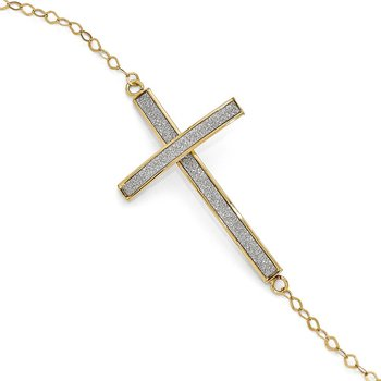 Leslie's 14k Glimmer Infused Sidways Cross Bracelet