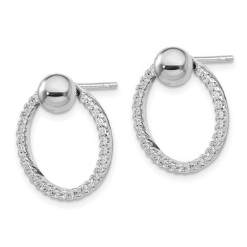 Sterling Silver Rhodium Plated CZ Hoop Jacket w/ Ball Post Earrings