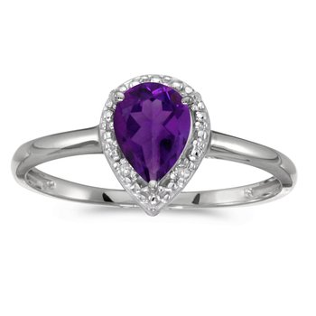 14k White Gold Pear Amethyst And Diamond Ring