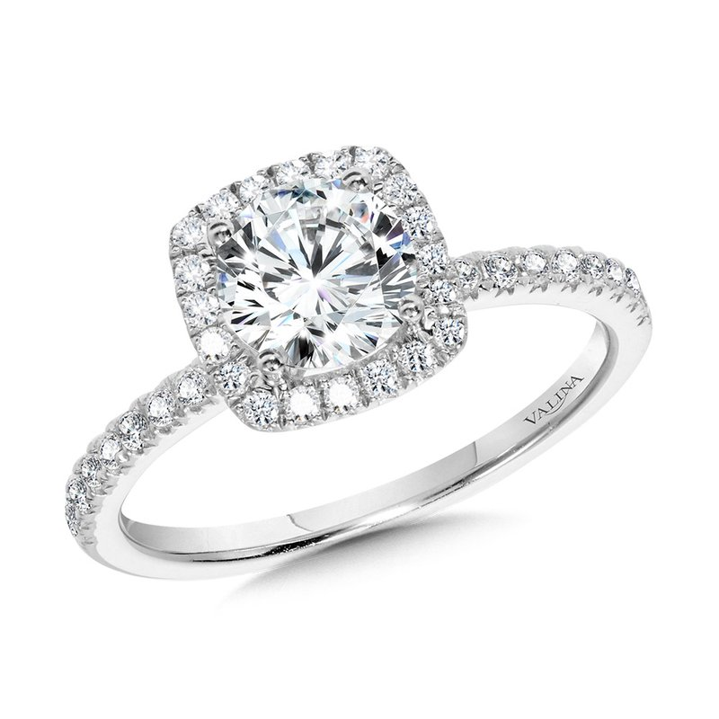 Valina Bridals Classic Straight Cushion-Shaped Halo Engagement Ring