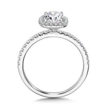 Classic Straight Cushion-Shaped Halo Engagement Ring