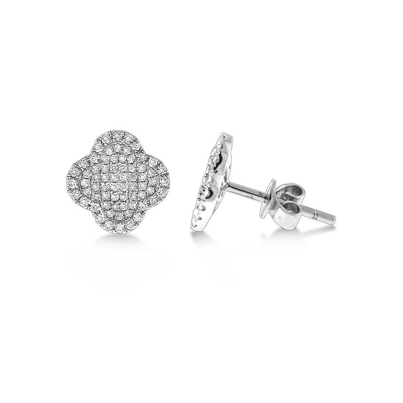 KC Designs Diamond Small Clover Shaped Earrings in 14k White Gold with 136 Diamonds weighing .46ct tw.