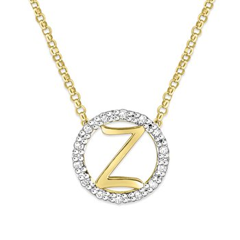 "Gold and Diamond Mini Halo ""Z"" Initial Necklace"