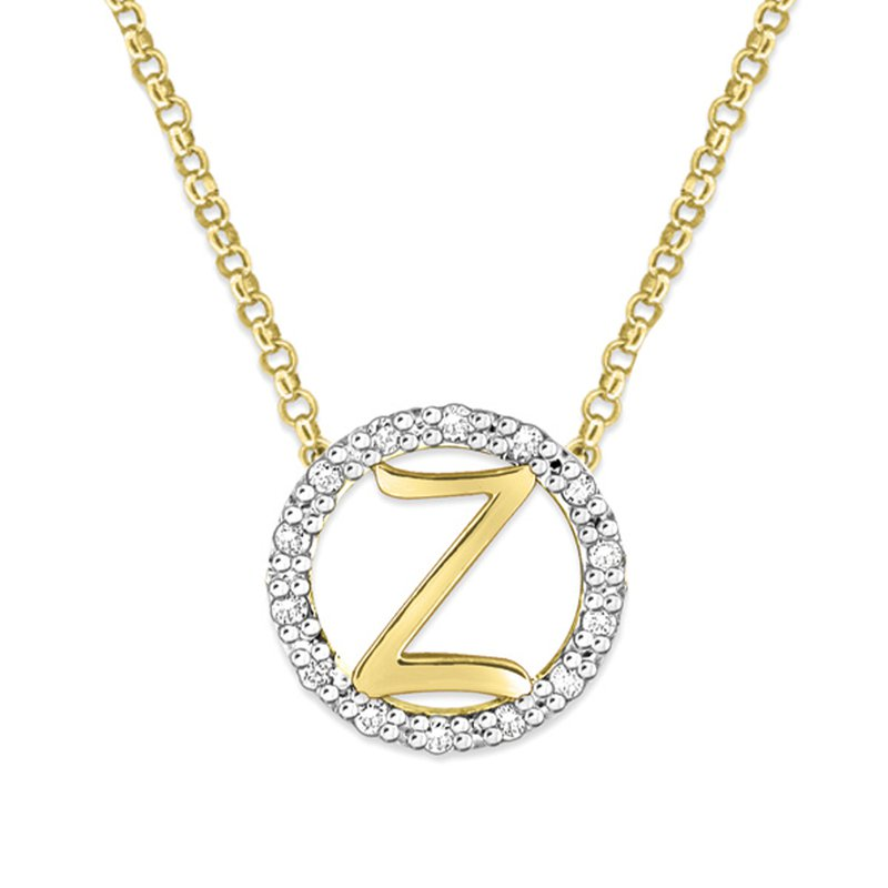 "KC Designs Gold and Diamond Mini Halo ""Z"" Initial Necklace"