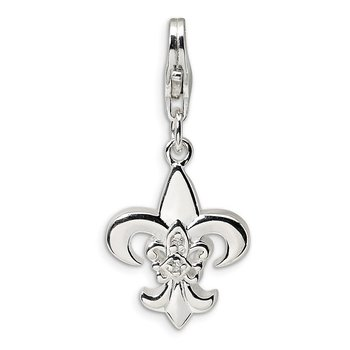 Sterling Silver CZ Polished Fleur de Lis w/Lobster Clasp Charm