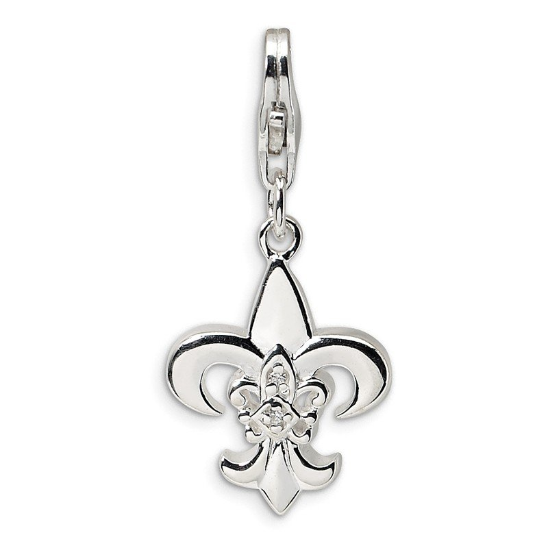 Quality Gold Sterling Silver CZ Polished Fleur de Lis w/Lobster Clasp Charm