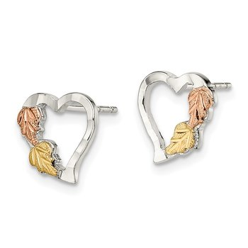 Sterling Silver & 12K Heart Post Earrings