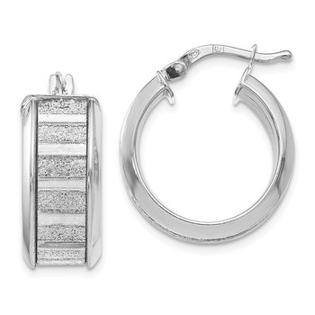 Leslie's Sterling Silver Polished Glimmer Infused Hoop Earrings