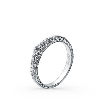 Artful Milgrain Engraved Diamond Wedding Band