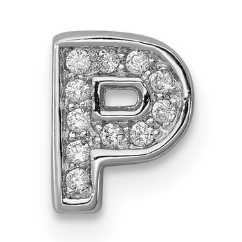 Sterling Silver Rhodium-plated CZ Letter P Initial Slide Charm