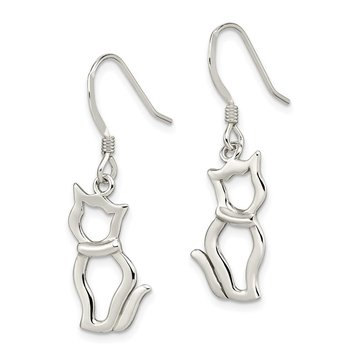 Sterling Silver Polished Cat Shepherd Hook Earrings