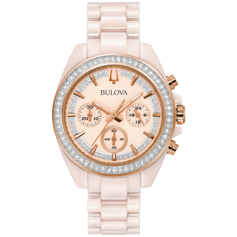 Bulova Blush Ceramic and Crystal Chronograph