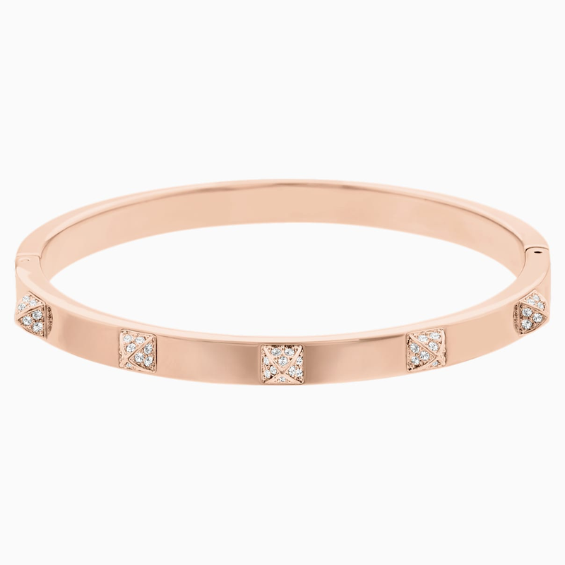 Swarovski Tactic Bangle, White, Rose-gold tone plated