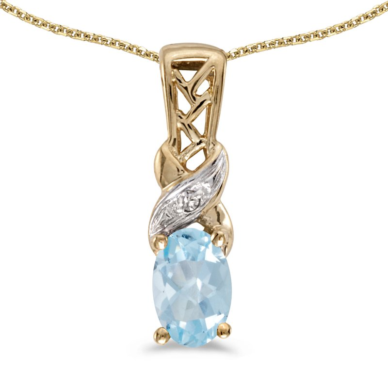 10k Yellow Gold Oval Aquamarine And Diamond Pendant