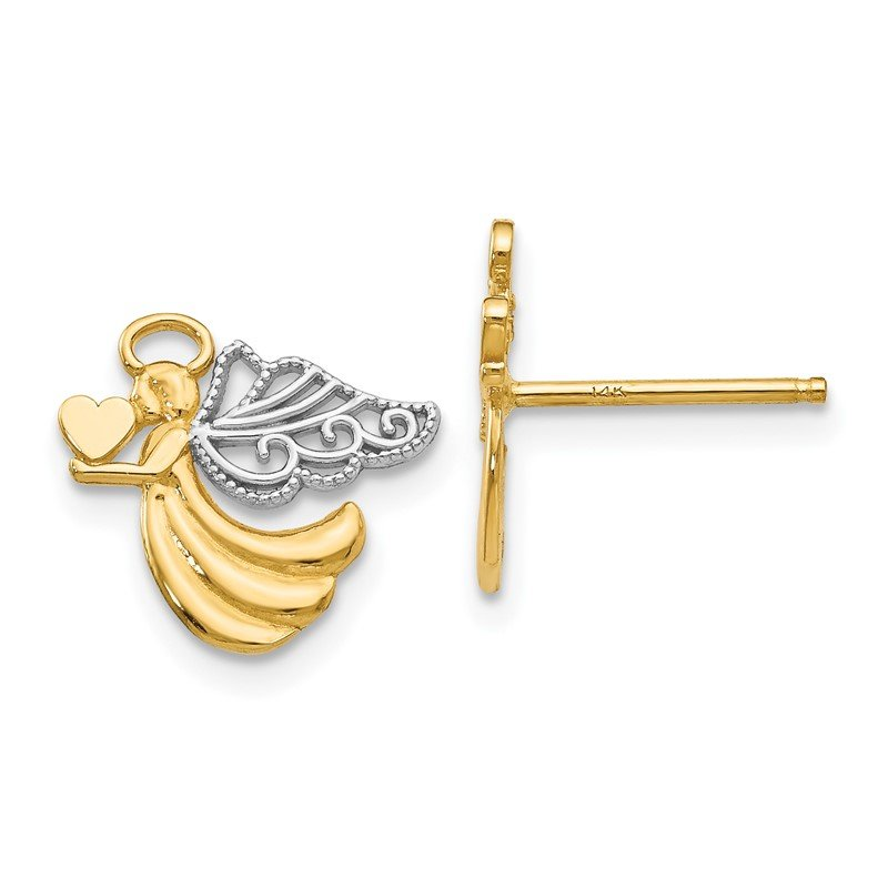 Quality Gold 14K w/Rhodium Angel With Heart Post Earrings