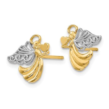 14K w/Rhodium Angel With Heart Post Earrings