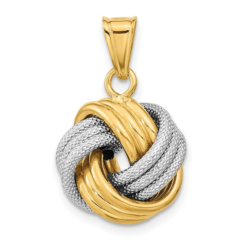 Quality Gold 14k Two-Tone Polished Textured Love Knot Pendant