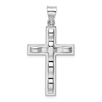 Sterling Silver Rhodium-plated Polished Cross Pendant