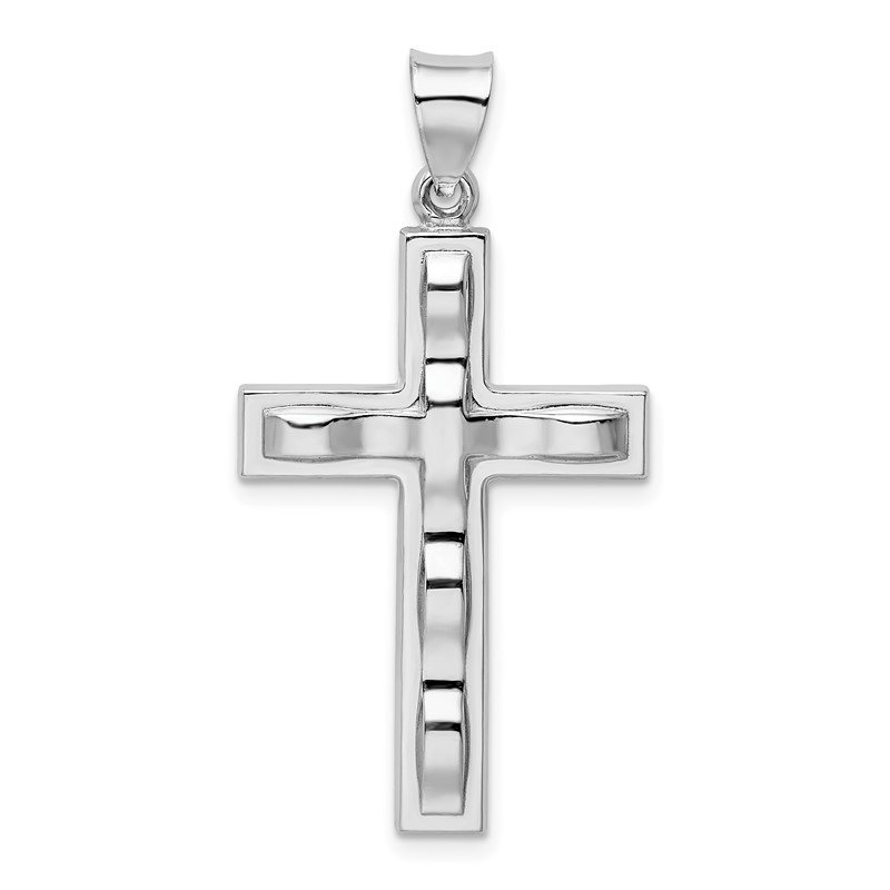 Quality Gold Sterling Silver Rhodium-plated Polished Cross Pendant