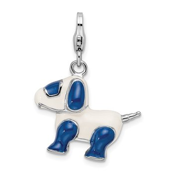 Sterling Silver RH Enameled 3-D Robot Dog w/Lobster Clasp Charm